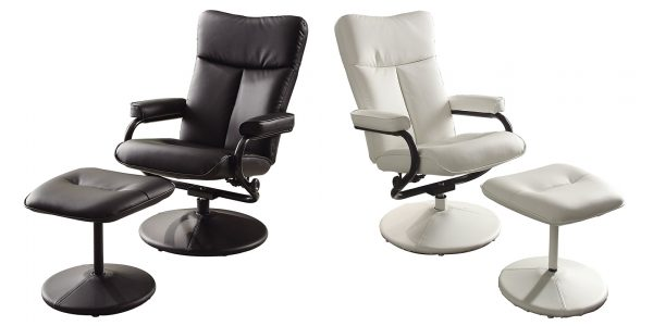 Homelegance Swivel Reclining Chair with Ottoman White or Black Bonded Leather Match