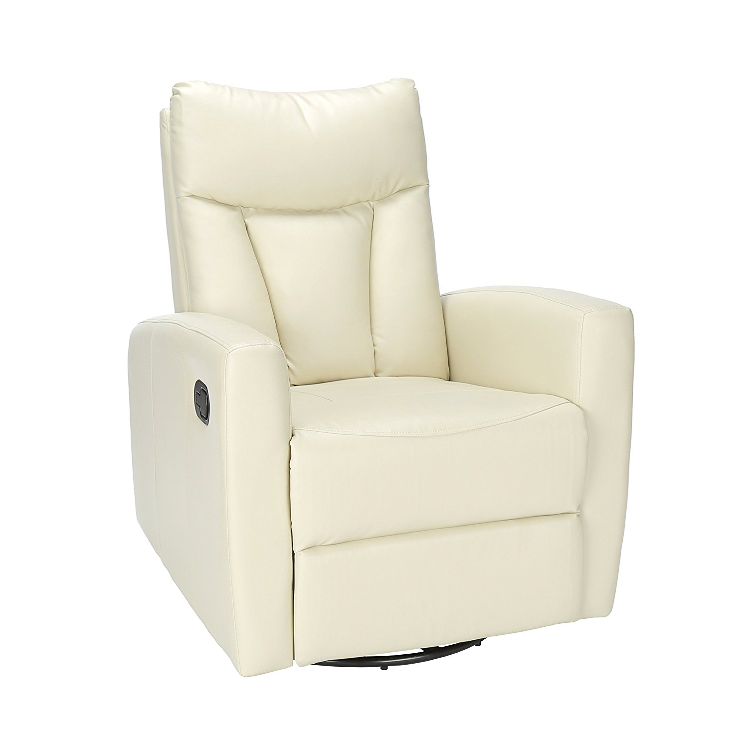 Monarch Specialties Ivory Bonded Leather Swivel Glider Recliner