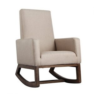 Esright Beige Fabric Rocker Morden Upholstered Rocking Chair